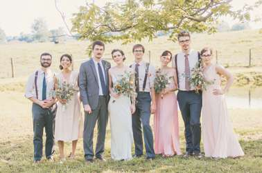 Soft photo of wedding party, blush and gray