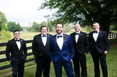 Groom and Groomsmen in Navy, Black and White
