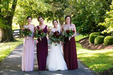 Fall wedding color palette: blush, marsala and Ivory