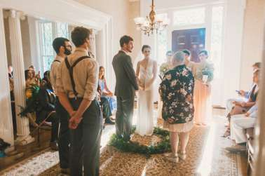 Intimate wedding ceremony in Warrenwood entry hall