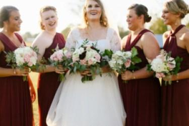 Burgundy bridesmaid dresses, Photo by Darling Tales of Darling Bones