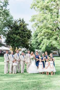 Southern traditional wedding party at Kentucky estate wedding