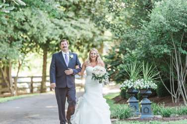 Bride & Father of the Bride enter outdoor wedding at Warrenwood Manor