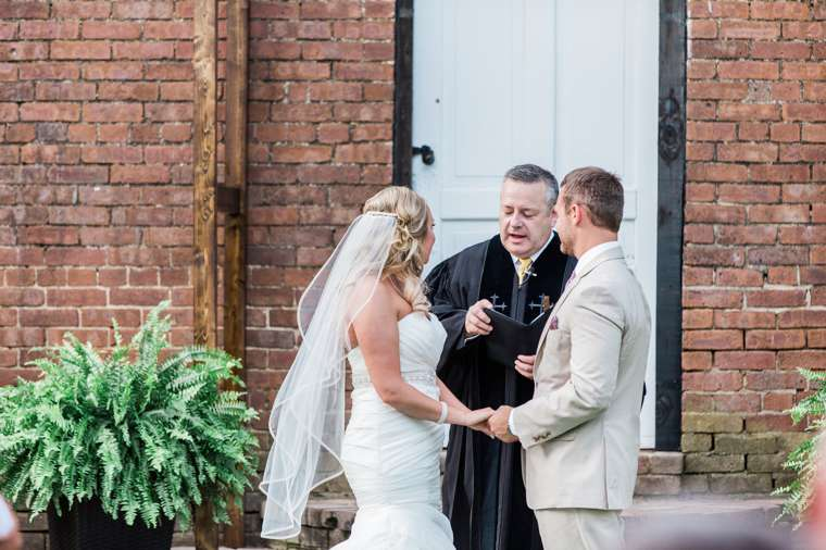 Backyard summer wedding ceremony
