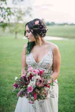 Organic mixed bridal bouquet with pink and burgundy by Natural Endeavors, Photo by Amy Wallen Photography
