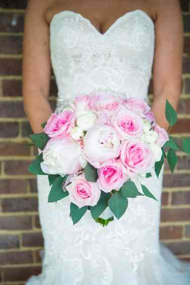 Pink peony and rose bridal bouquet by Stems LLC, Photo by Hilly Photography