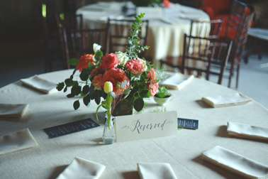 Pink, peach, white & coral floral centerpiece in wooden box. Ben Keeling Photography, Doug Smith Events
