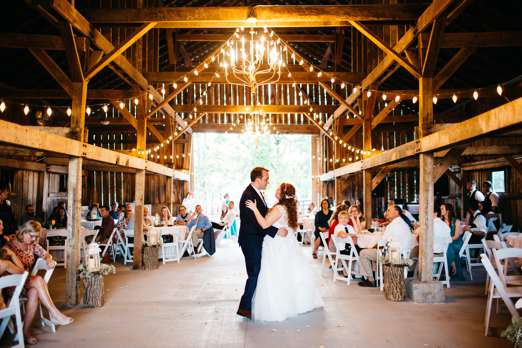 First dance during traditional southern barn wedding reception
