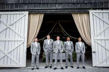 Groomsmen in grey for Kentucky farm wedding