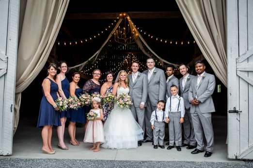Wedding Party in Grey & Navy Blue at Kentucky farm wedding