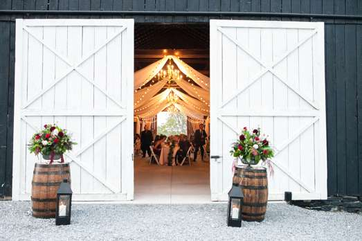 Wedding barn with ivory drapery