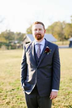 Groom in grey blue suit for rustic elegant Kentucky fall wedding