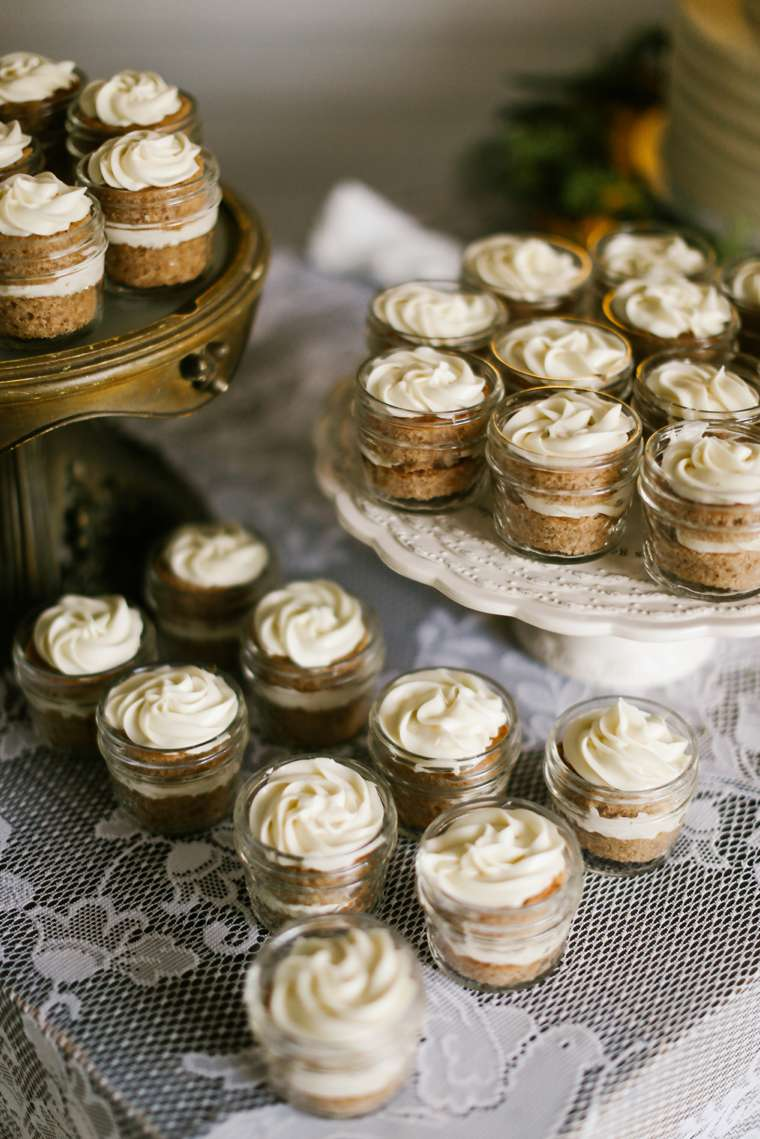 Layered dessert in jars for fall wedding reception