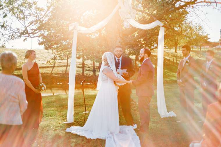 Outdoor fall wedding ceremony at Warrenwood Manor in Kentucky
