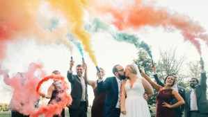 Wedding Party with Color Smoke Bombs