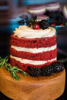 Red velvet layered naked mini-cakes at Kentucky winter wedding
