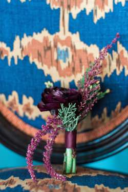 Deep Purple Ranunculus boutonniere