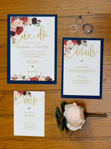Floral invitation set for classic Kentucky wedding