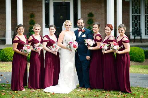 Wedding Party at fall Warrenwood Manor wedding