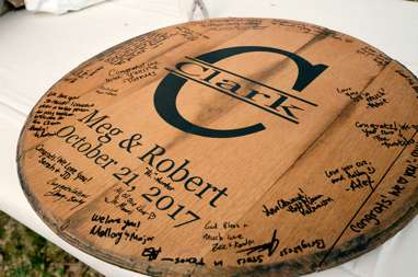 Custom bourbon barrel head guestbook