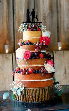 Four-tier naked wedding cake with fruit and flowers