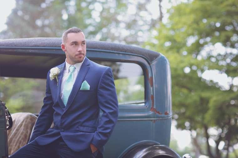Vintage southern groom in navy