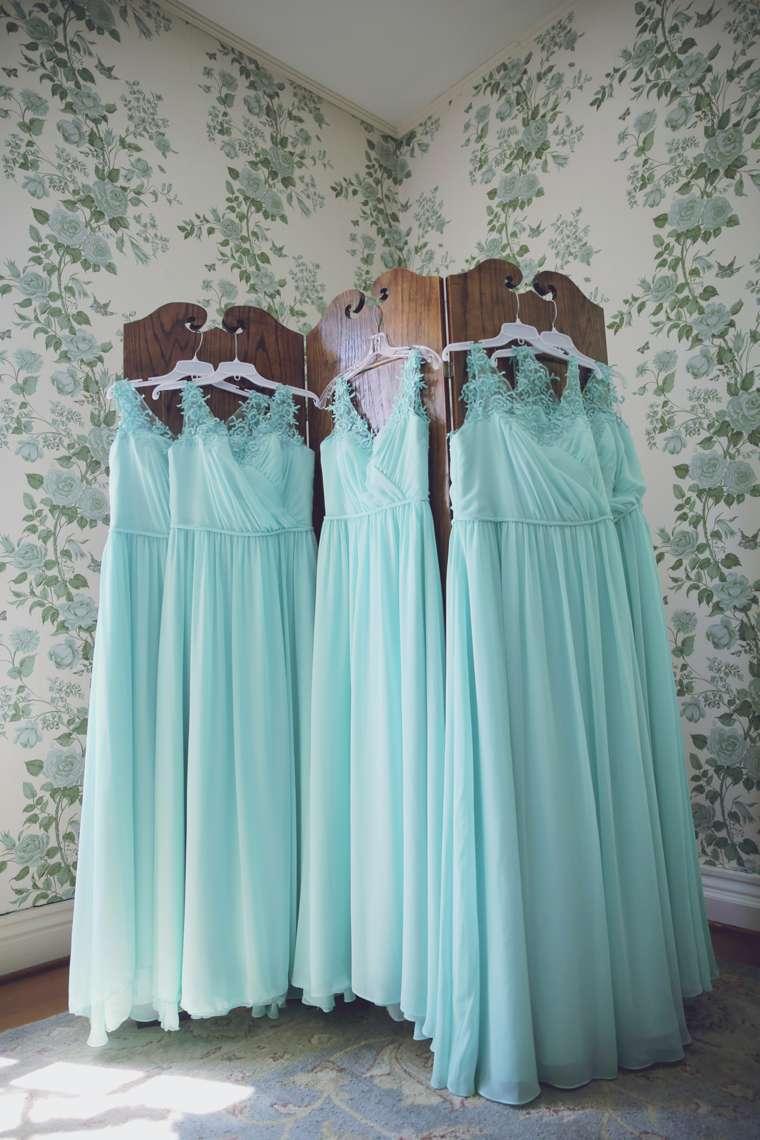 Long bridesmaids dresses in aqua