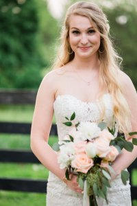 Bride with Pink and Ivory Bouquet