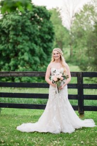 Bride in Stella York Sweetheart neckline dress