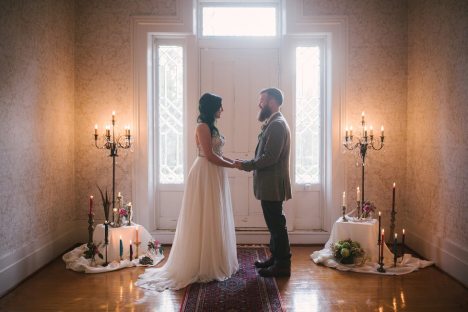 Intimate vintage boho ceremony in historic house