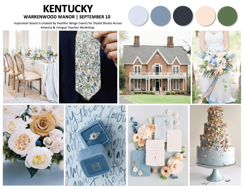 Kentucky Wedding Styled Shoot Mood Board at Warrenwood Manor