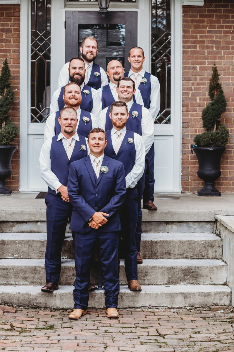 Groomsmen in navy for Country Glam Wedding
