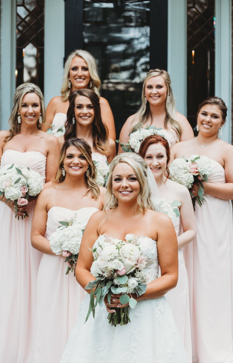 Bridesmaids in pale pink for country glam wedding