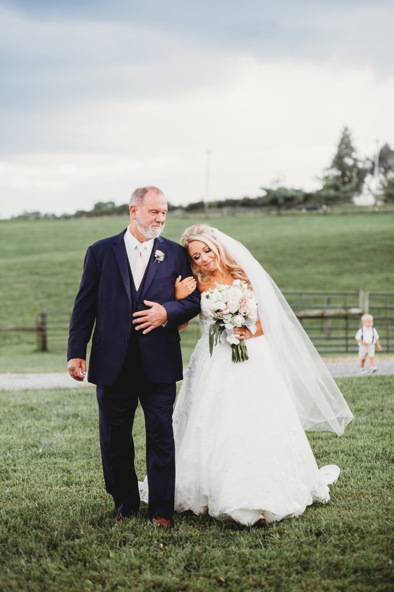 Bride and Father of the Bride enter Country Glam Wedding Ceremony