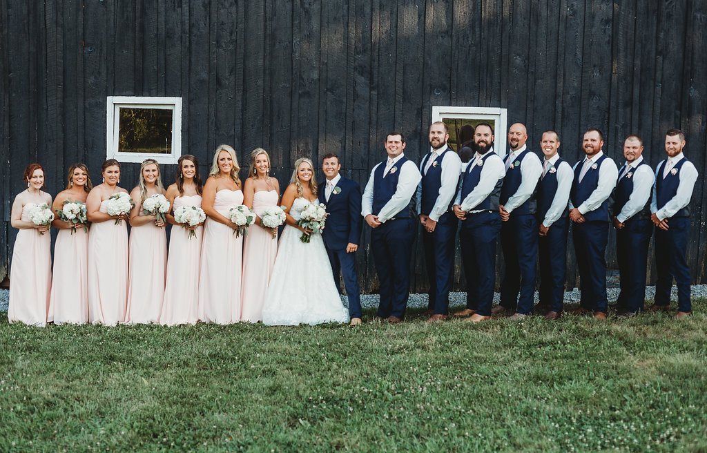 Wedding Party in pale pink and navy at country glam wedding