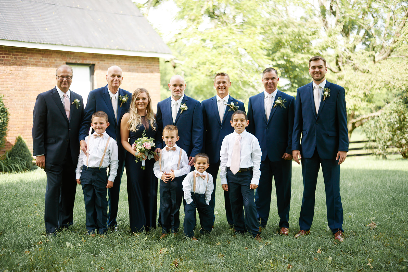 Wedding party in navy and pale pink at Warrenwood Manor