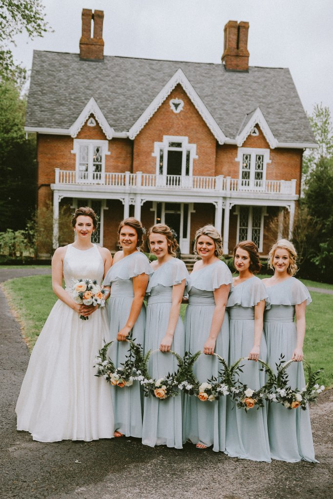 Bridesmaids in light blue dresses at Vintage Spring Wedding - Warrenwood Manor -Kentucky Wedding Venue