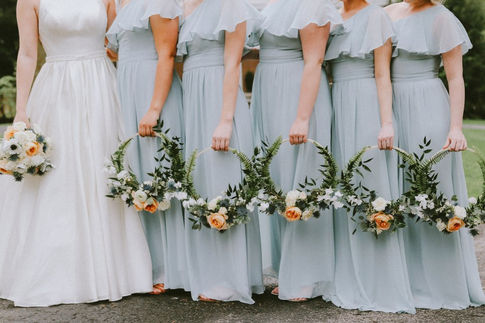 Hoop bridesmaid bouquets at Vintage Spring Wedding - Warrenwood Manor -Kentucky Wedding Venue