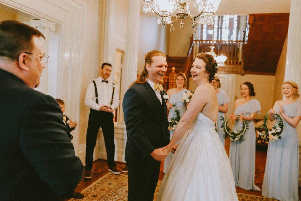 Intimate Ceremony in Historic House at Vintage Spring Wedding - Warrenwood Manor -Kentucky Wedding Venue