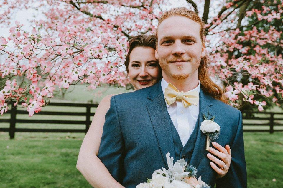 Bride & Groom at Vintage Spring Wedding - Warrenwood Manor -Kentucky Wedding Venue