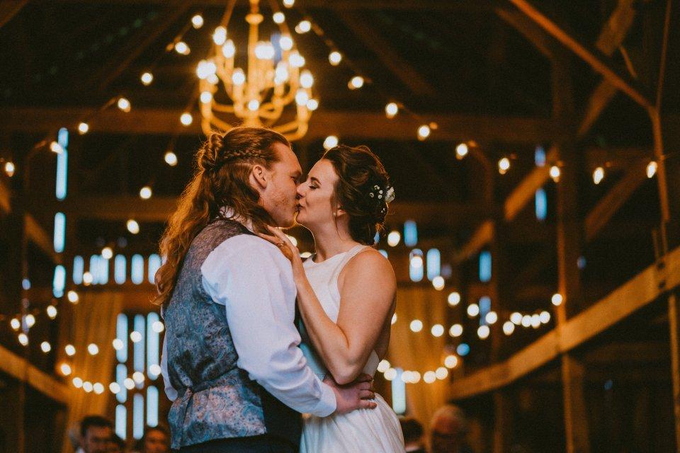 First dance during barn wedding reception at Vintage Spring Wedding - Warrenwood Manor -Kentucky Wedding Venue