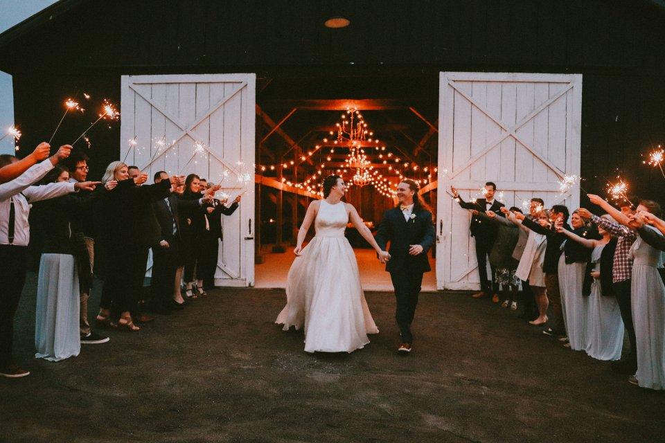 Sparkler exit from barn reception at Vintage Spring Wedding - Warrenwood Manor -Kentucky Wedding Venue