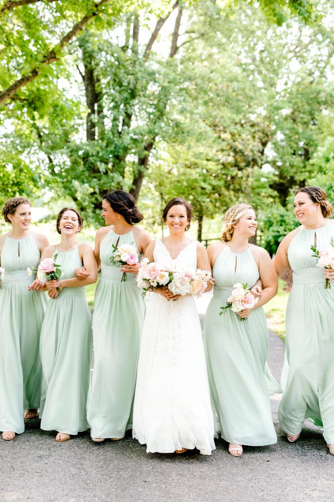 Pastel Spring Southern Chic Wedding at Warrenwood Manor - Kentucky Wedding Venue- Bridesmaids in sage