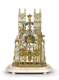 In addition to producing the town clock, George Blackhurst made many other timepieces whilst working in Warrington. This Brass Quarter Striking Skeleton Clock recently fetched £2,800 at auction.