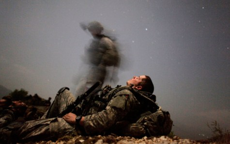 Page by Geoffrey Ingersoll - A U.S. soldier of 2-12 Infantry 4BCT-4ID Task Force Mountain Warrior takes a break during a night mission near Honaker Miracle camp at the Pesh valley
