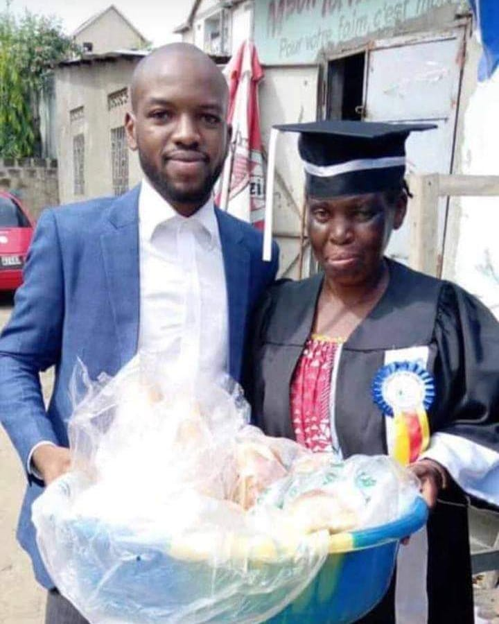 Bread seller wears her son's graduation gown as he bags a law degree