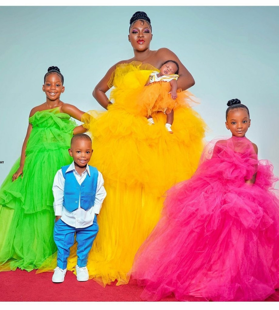 Actress Chacha Eke Faani poses with her children in beautiful new photos