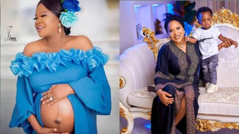 'He stole your face' – Reactions as Toyin Abraham shares never seen photo of her son, Ire