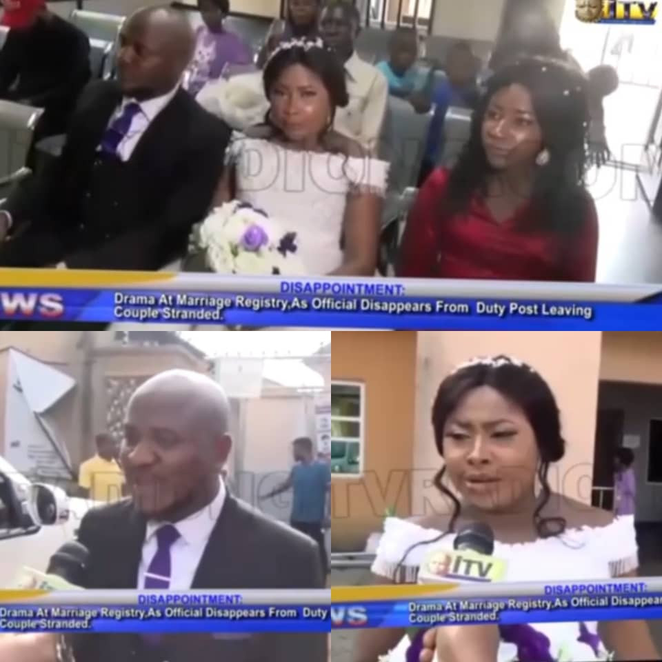 Intending couple left stranded after registrar who was supposed to officiate at their wedding travels out of Edo for a burial. FG reactscouple (video)