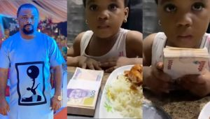 """""""This is not my blood"""" – Actor Dike Osinachi reacts after his little daughter chose N50k over a plate of food (Video)"""